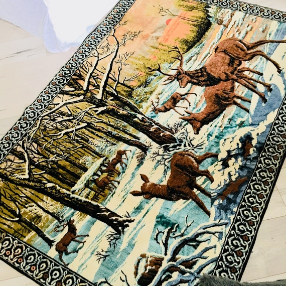 Vintage Velvet Deer Tapestry Large Italian Velvet Winter Forest Landscape Hanging Wall Art Sunset Deer Tapestry Made in Italy