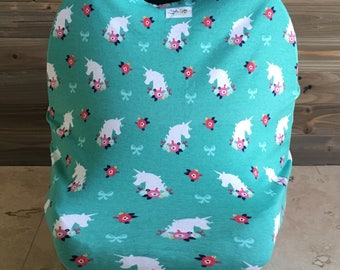 Unicorn baby car seat cover, carseat canopy, stretchy car seat cover, nursing cover, baby girl