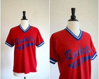 Summer Sale Vintage Rockets retro athletic tee / red white and blue baseball tee