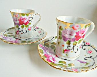 2 Expresso Teacup and Saucer  Vintage Demi Tasse Tea Cup Rose Japan
