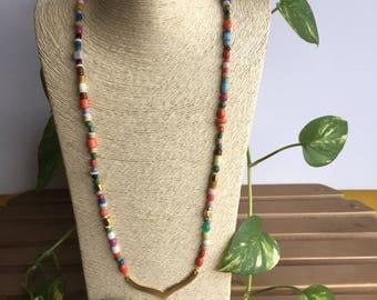 B0HEMIAN Vintage Multi Color Beads Necklace