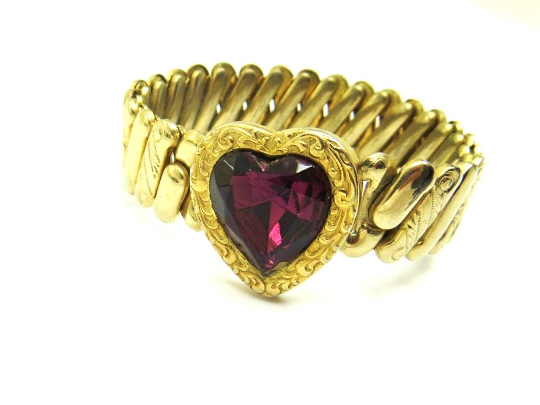Gold Filled Sweetheart Bracelet Heart Expansion Amethyst Purple ...
