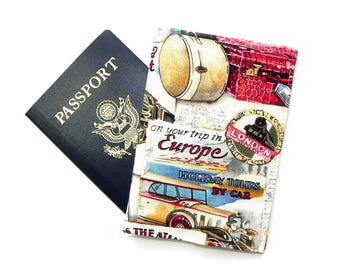 Passport Cover - Passport Holder - Travel to Europe - Vintage fabric with train, car, luggages