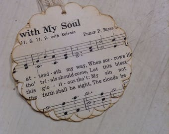 It Is Well Music Sheet Gift Tags, Inspirational Tags, Vintage Style Hang Tags, Women's Brunch Favors, Goodie Bag Tags, Large Scalloped Tags