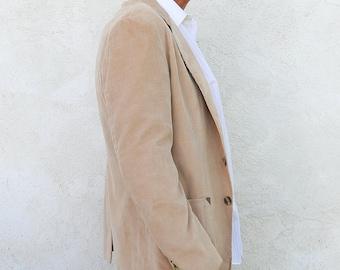 Vintage Corduroy Jacket, Men's Medium Beige Sports Coat