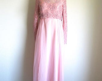 1/2 Off SALE Vintage Long Pink Lace Dress, 60s Long Sleeve Gown, Special Occasion Formal Dress