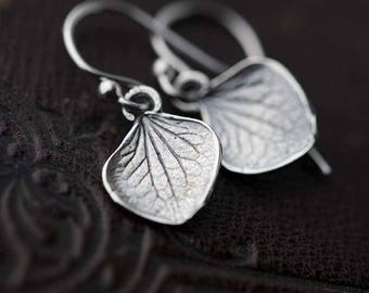 Tiny Sterling Silver Petal Earrings | Small Silver Dangle Leaf Earrings | Gift for Women | Botanical Handmade Jewelry by Burnish