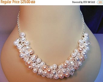 30% OFF SALE thru Mon Swarovski Peach White Pearl and Crystal Cluster Necklace, Mothers Day, Christmas Gift, Mom Sister Grandmother Jewelry