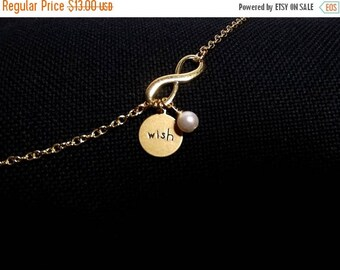 40% OFF SALE thru Tues WISH Infinity Charm Bracelet, Wedding Jewelry, Pearl Charm Bracelet, Mothers Day Gifts, Sister Jewelry, Gold Jewelry