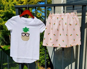 Chillin pineapple 2 piece outfit - Girl, toddler, baby, tween, coral pink tropical skirt, sequin pineapple with sunglasses applique shirt