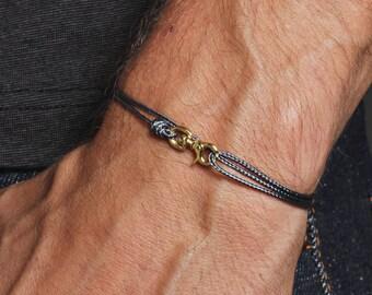 Men's Bracelet - Minimalist gray cord bracelet for men - Gray cord and gold bracelet for men - Bracelets for Men - Men's Jewelry - For him