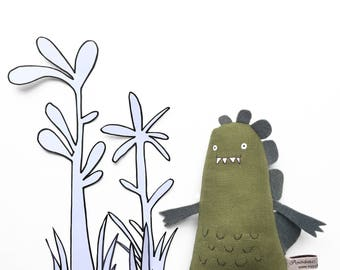 Toy Dinosaur Hand-embroidered Art Doll, Soft Toy Monster, Dinosaur Soft Sculpture, Handmade Dinosaur Plushie, Handmade Toy Dinosaur Softie