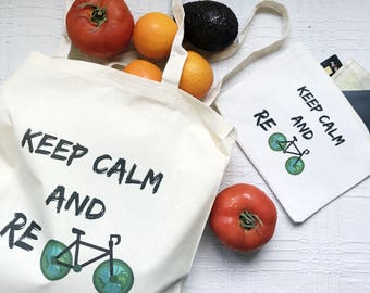 Zipper pouch & eco tote set, keep calm zipper pouch, keep calm tote bag, Eco Tote Bag, canvas market bag, shopping pouch, canvas coin wallet