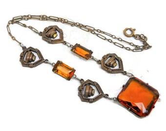Beautiful Vintage Art Deco Amber Czech Glass Necklace