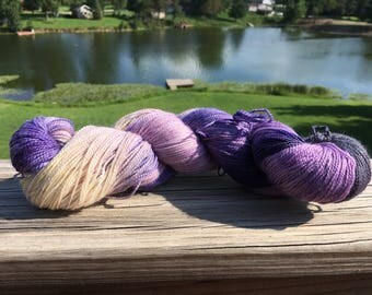 Violet Crawley, Inspired by Downton Abbey tv show, Knit and Fiber Creation Deuces Glitter Sock Yarn