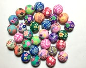 100 Round Polymer Clay Fimo Flower Spiral Rose Blue Red Beads 20mm