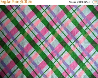 "ON SALE Plaid seer sucker fabric/ vintage seer sucker and plaid print/ pink lavender green white fabric/ 1 yard x 39 1/2"" wide"