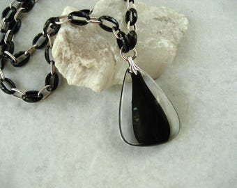 Vintage Trifari Pendant Necklace Black Clear Plastic Modernist