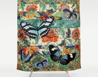 Grunge Schmetterling Duschvorhang, Vintage Badezimmer, Retro Bad, Creme,  Teal, Royal
