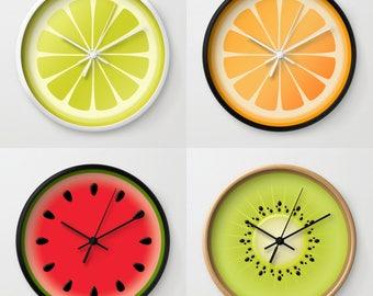 FRUIT Wall Clock, Kiwi Lime Lemon Orange Watermelon, Kitchen Nurcery Dining room decor, Round Wood Clock, Red Green Black White Yellow Beige