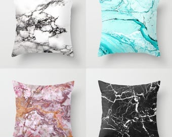 Marble Throw Pillow, Indoor Outdoor Cushion cover case, Black White Grey Blue Pink Neutral Stone Texture Girls Dorm Bedding Teen Room Decor