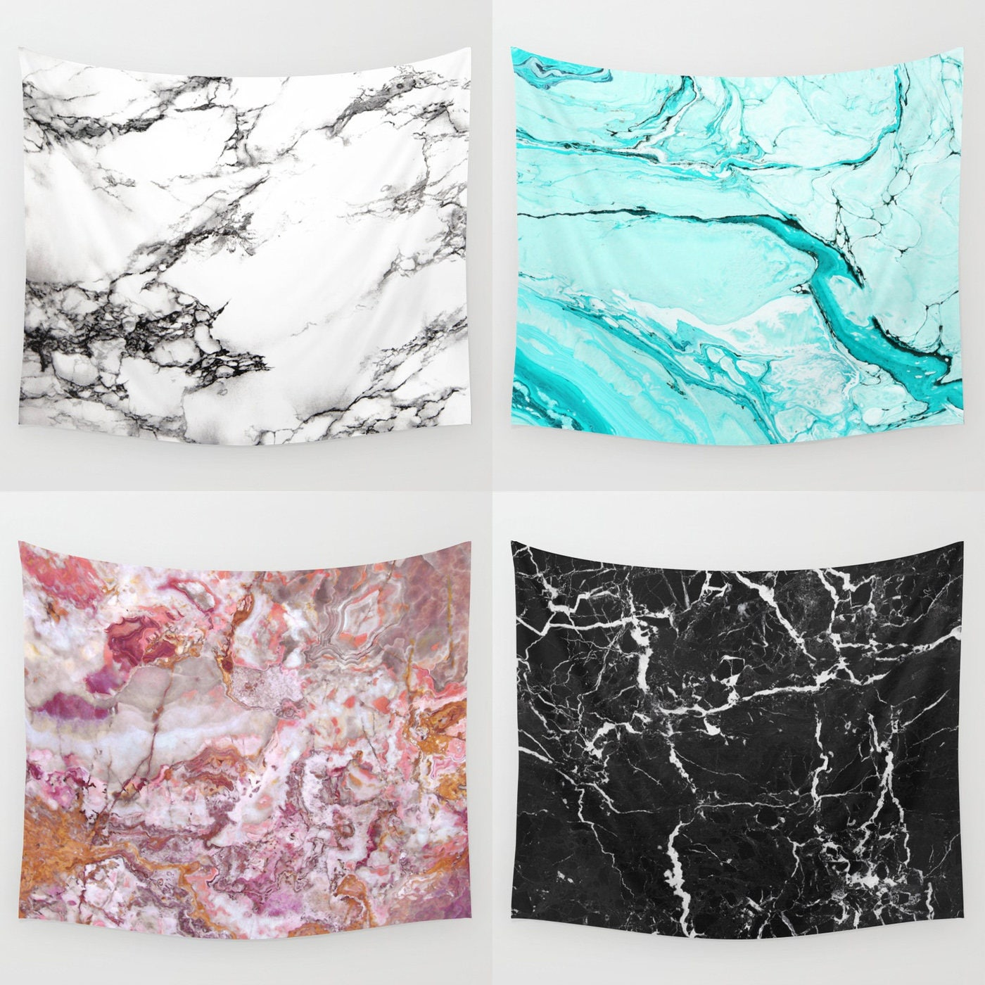Marble Tapestry Wall Decor Black White Blue Pink Neutral
