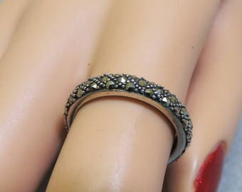 Vintage Narrow Marcasite Sterling Band Ring, Size 7 Marcasite Ring
