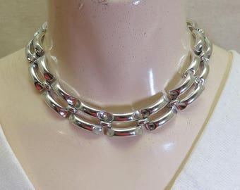 Silvertone Tire Track Choker Necklace, Vintage, Collar Style, Lisner Metal Necklace