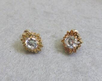 Lovely Clear Cubic Zirconia Pierced Earrings, New, Never Worn