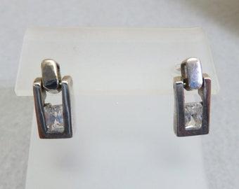 Vintage Sterling Silver Tiny Door Knocker Style Pierced Earrings, Cubic Zirconia Pierced Earrings