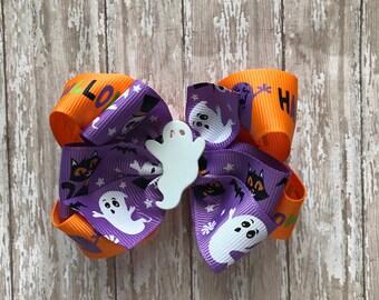 Halloween hair bow, girls Halloween hair bow, ghost hair bow, purple hair bow, layered hair bow, non slip bow