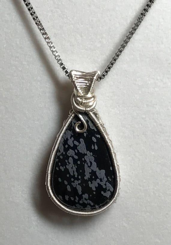 Snowflake Obsidian Wire Weave Pendant