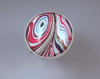 Fordite- Vivid Multi Colored Swirly Stripes- One of a Kind- Adjustable Hammered Silver Band- Michigan Made Fordite Ring