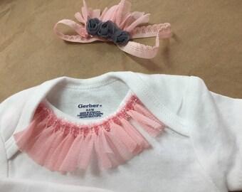 Baby ballerina tutu necklace onesie and headband