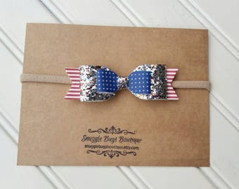 Fourth of July Large Double Layer Glitter Bow Headband- Newborn Baby to Adult-Hair Bows- Faux Leather Glitter Bow Headband or Hair clip