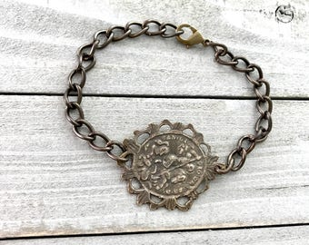 Men's Bracelet - Chain Bracelet -St George Bracelet  - Bronze Bracelet -  Made in USA
