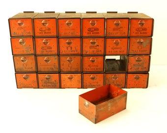Vintage Dorman Parts Drawer Hardware Bin with 24 Drawers in Rustic Orange (c.1950s) - Industrial Storage, Urban Loft Decor