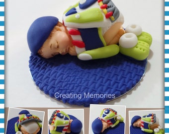 BABY SHOWER Edible Cake topper  Buzz Lightyear Inspired topper made of Fondant read for your cake. Baby & Boots laying on a purple blanket