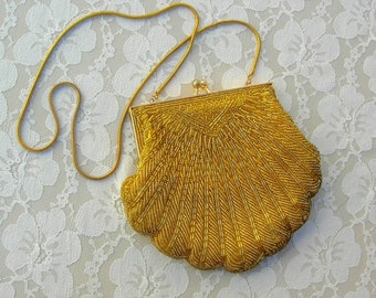 Beautiful Gold Handmade Beaded Evening Bag with metal chain, for a wedding, prom, or a dressy night out
