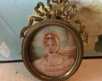French signed miniature portrait