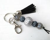 Big beaded Keychain in Black and Silver with Black suede Tassel