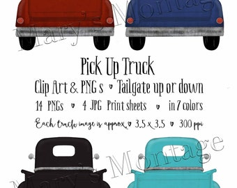 Pick Up Truck, Clip art, PNGs, Back view, 7 colors, 2 sizes