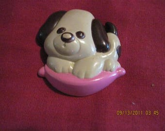 VINTAGE AWESOME CUTE Puppy Love Glace Pin   Avon 1975 number 6