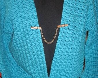 Hand Made/Crocheted Sweater...Teal/Turquiose ...Vanna White Yarn...