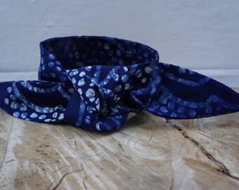 Headband, Tie Dye headband, Shibori Headband, Indigo Headband,Batik Hairband, Hair accessory, Women's scarf/headband