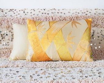 Gilt Bamboo Cushion, Mid Century Metallic Gold Pillow, Vintage Kimono Obi Silk Luxury Throw Pillows, Old Hollywood Glamour, Boho Gypsy Decor
