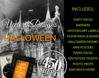 Ultimate Halloween MEGA Crafting Pack Printable Paper Crafting Trick or Treat Digital Download Instant Download Collage Sheets* - VDMPHA1671