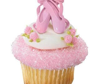 12 Ballet Slippers Cupcake Cake Rings Birthday Party Favors Toppers