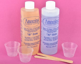 16oz Amazing Clear Cast RESIN Kit, Clear Jewelry Resin Starter Kit, plastic cups, doming kit, Jeweler Grade Clear Epoxy Resin, adh0036