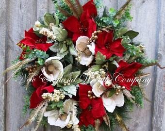 ON SALE Christmas Wreath, Holiday Wreath, Designer Christmas, Victorian Christmas, Elegant Holiday, Poinsettia Wreath
